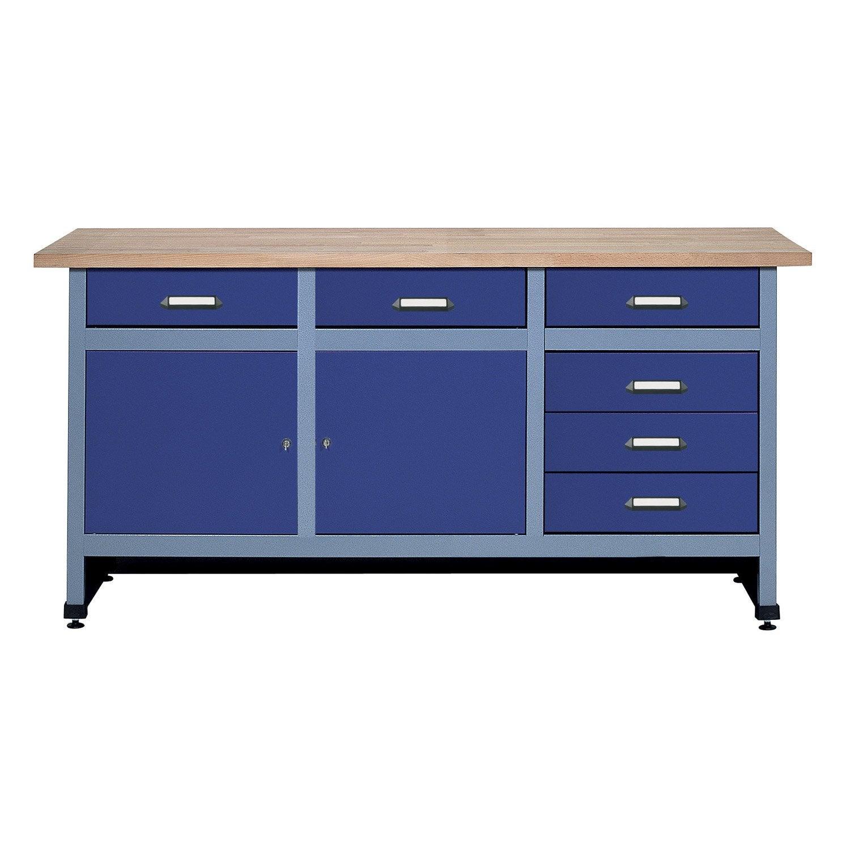 etabli de m canicien kupper 170 cm bleu leroy merlin. Black Bedroom Furniture Sets. Home Design Ideas
