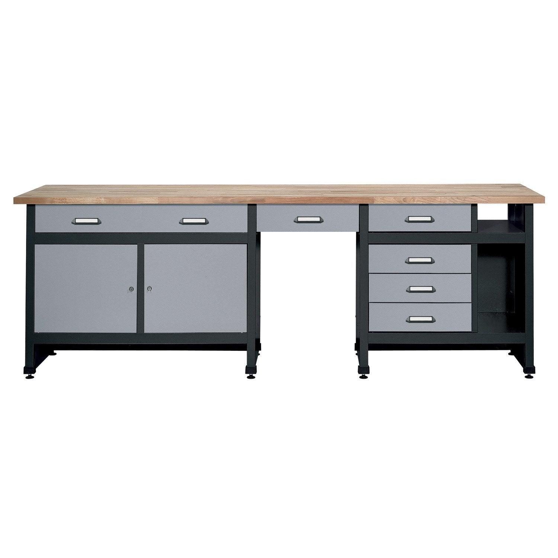 etabli de m canicien kupper 240 cm gris leroy merlin. Black Bedroom Furniture Sets. Home Design Ideas