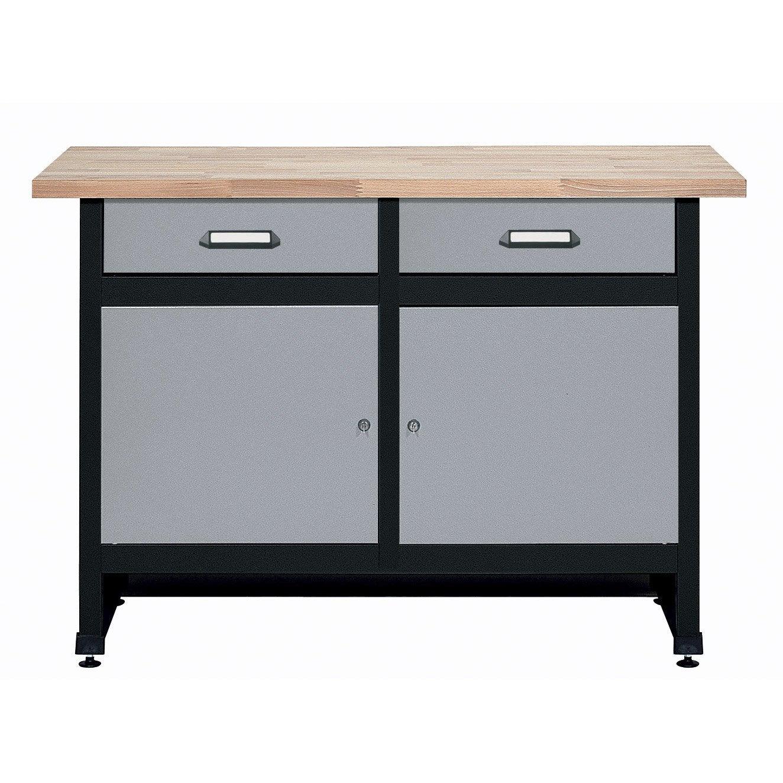 etabli de m canicien kupper 120 cm 2 portes et 2 tiroirs leroy merlin. Black Bedroom Furniture Sets. Home Design Ideas