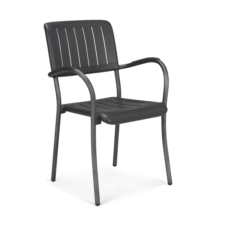 fauteuil de jardin en r sine plastique musa gris anthracite leroy merlin. Black Bedroom Furniture Sets. Home Design Ideas