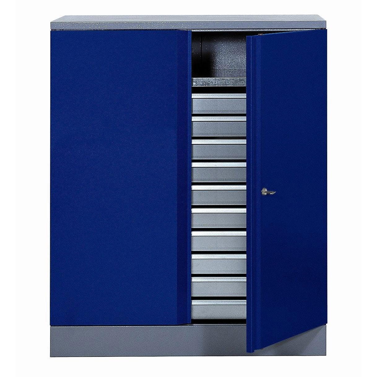 Armoire de rangement en m tal bleu kupper 91 cm 1 porte 10 for Armoire de rangement a tiroir