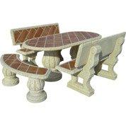 Salon de jardin Fresno, 1 table + 4 bancs