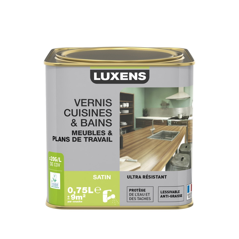 Leroy Merlin Vernis Bois - Vernis cuisine et bain LUXENS, satin incolore, 0 75L Leroy Merlin