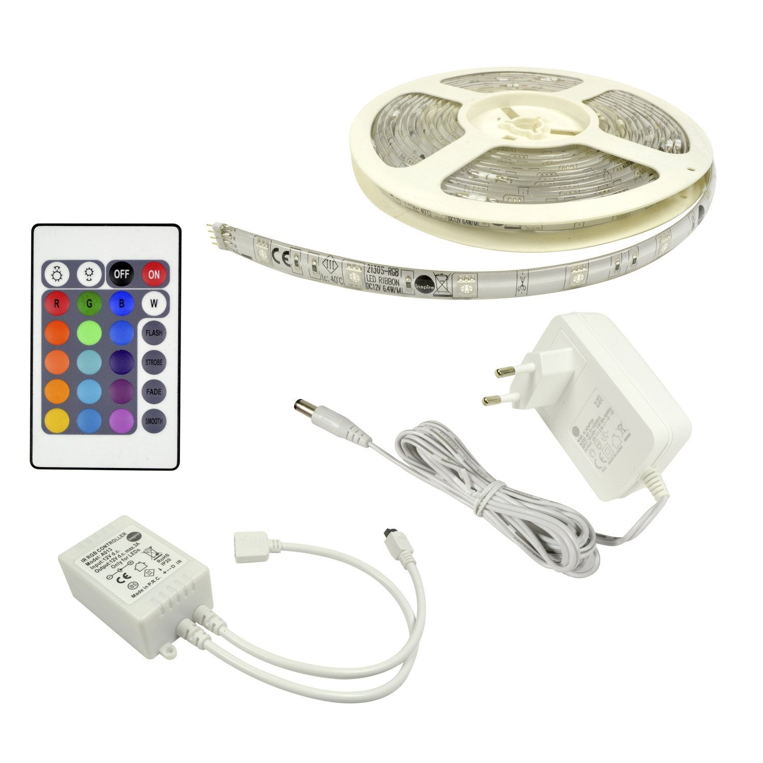 Kit ruban led flexled led 1 x 24 w led int gr e rgb changement de couleurs - Led escalier leroy merlin ...