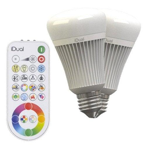 2 ampoules led changement de couleurs t l commande 11 5w e27 idual jedi leroy merlin. Black Bedroom Furniture Sets. Home Design Ideas