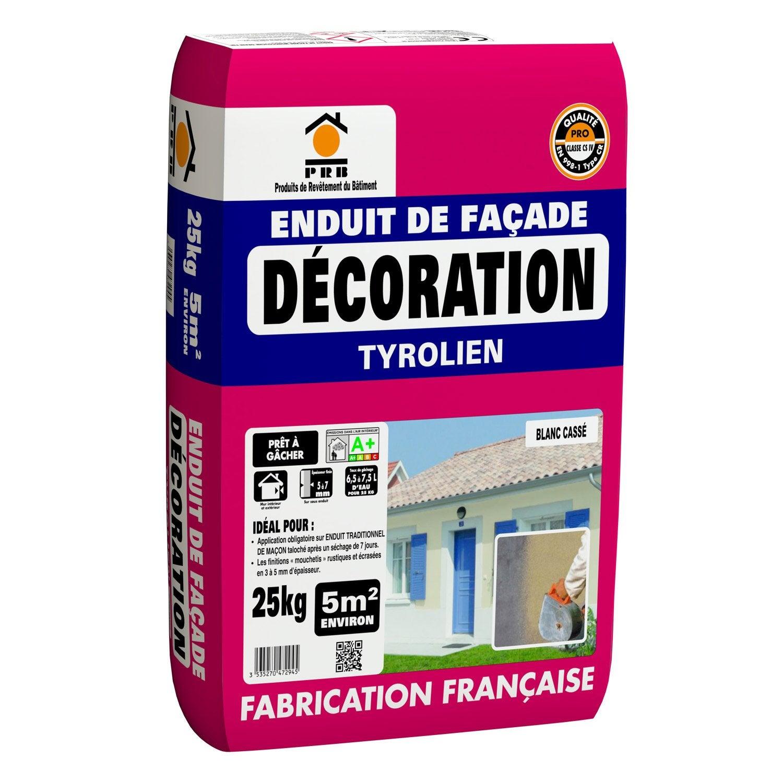Enduit tyrolien blanc cass prb 25 kg leroy merlin for Prb peinture facade