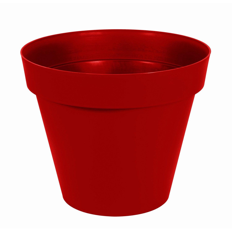 Pot polypropyl ne eda x cm rouge rubis for Gros pot exterieur rouge