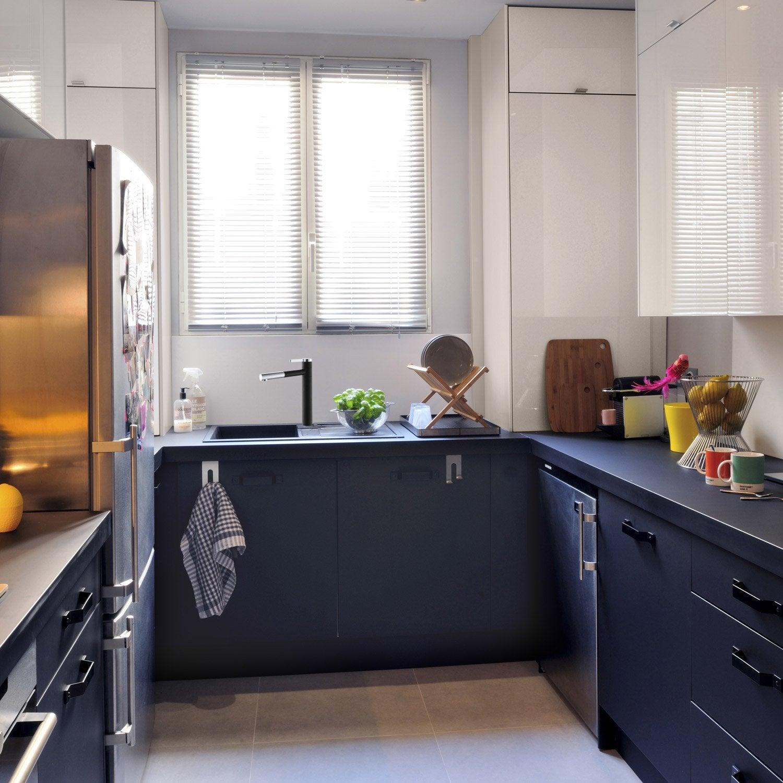 Meuble de cuisine noir delinia mat edition leroy merlin for Cuisine facade noire