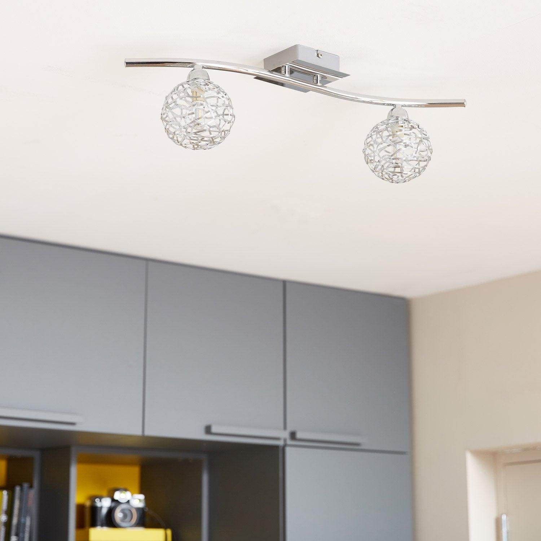 rampe 2 spots sans ampoule 2 x g9 chrome deva inspire leroy merlin. Black Bedroom Furniture Sets. Home Design Ideas