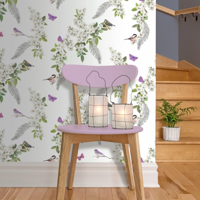 papier peint intiss fleur blanche multicouleur leroy merlin. Black Bedroom Furniture Sets. Home Design Ideas