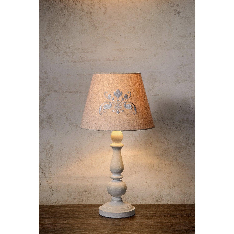 lampe robin lucide lin taupe 40w leroy merlin. Black Bedroom Furniture Sets. Home Design Ideas