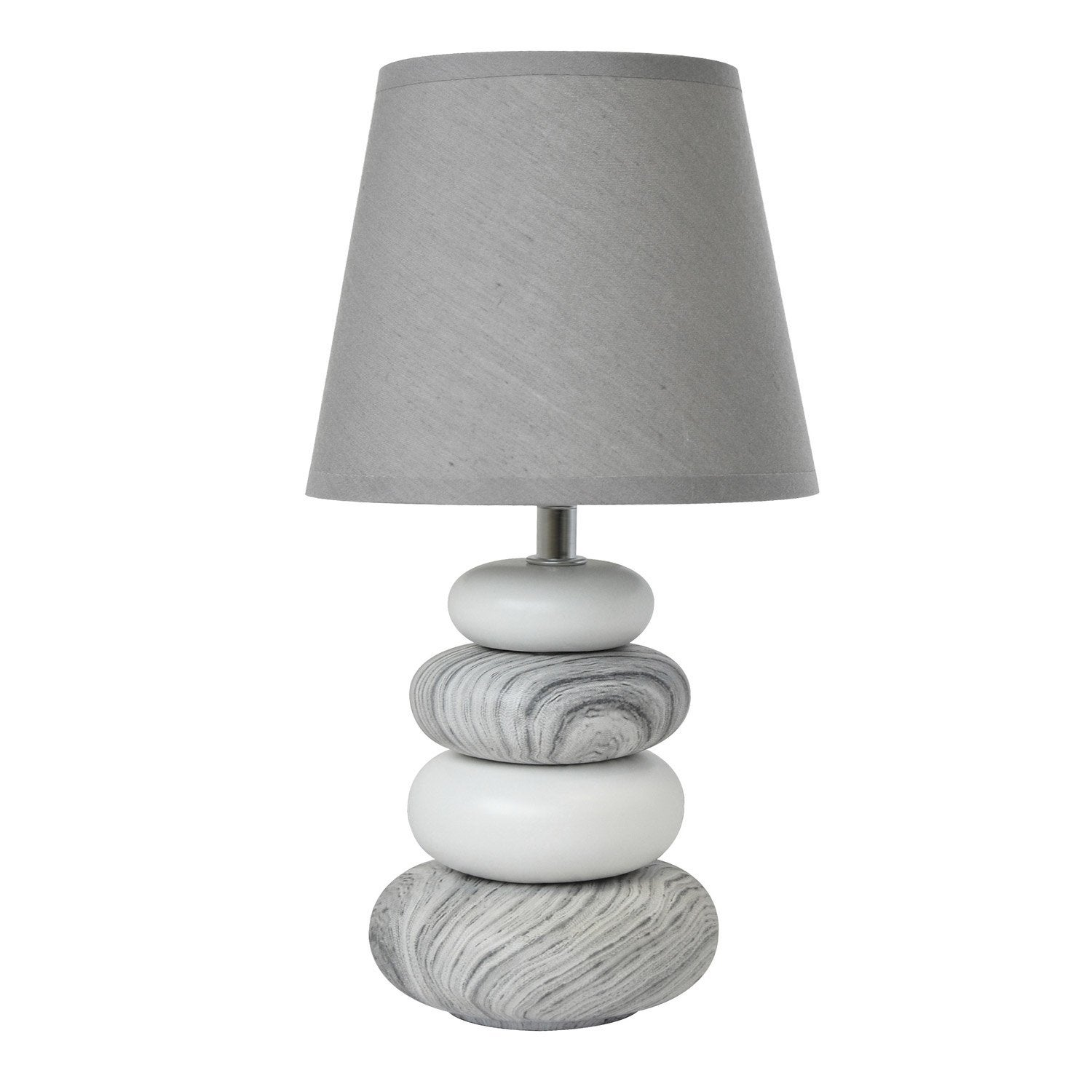 Lampe arizona seynave tissu gris 40 w leroy merlin for Lampe de chevet london
