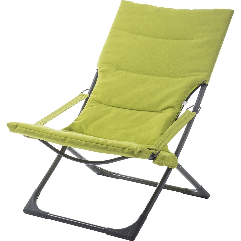 relax de jardin en acier venezia vert leroy merlin. Black Bedroom Furniture Sets. Home Design Ideas