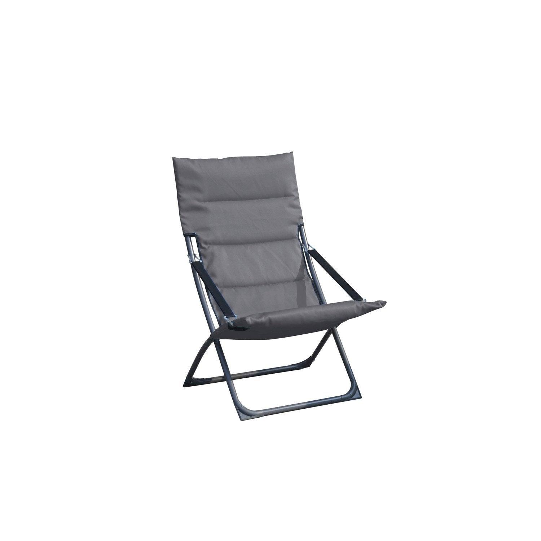 relax de jardin en acier venezia gris leroy merlin. Black Bedroom Furniture Sets. Home Design Ideas