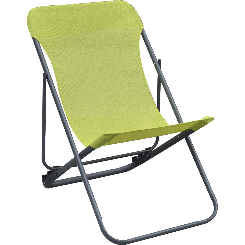 relax de jardin en acier roma vert leroy merlin. Black Bedroom Furniture Sets. Home Design Ideas