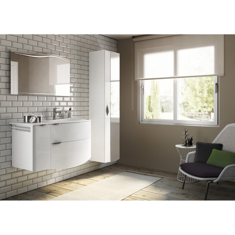 Meuble de salle de bains de 100 119 blanc beige naturels elegance l - Meuble salle de bain d angle leroy merlin ...