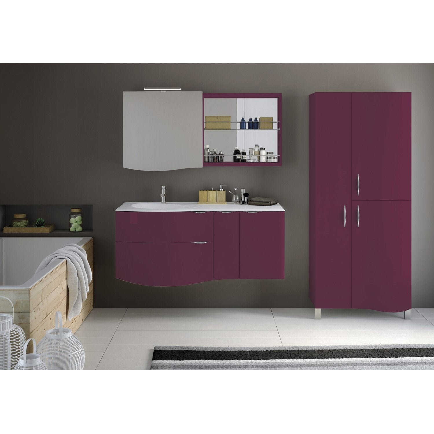 meuble de salle de bains elegance violet amarante 100 cm leroy merlin. Black Bedroom Furniture Sets. Home Design Ideas