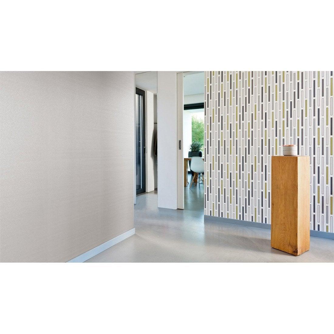 papier peint g om trique blanc or gris intiss ap 2000 leroy merlin. Black Bedroom Furniture Sets. Home Design Ideas
