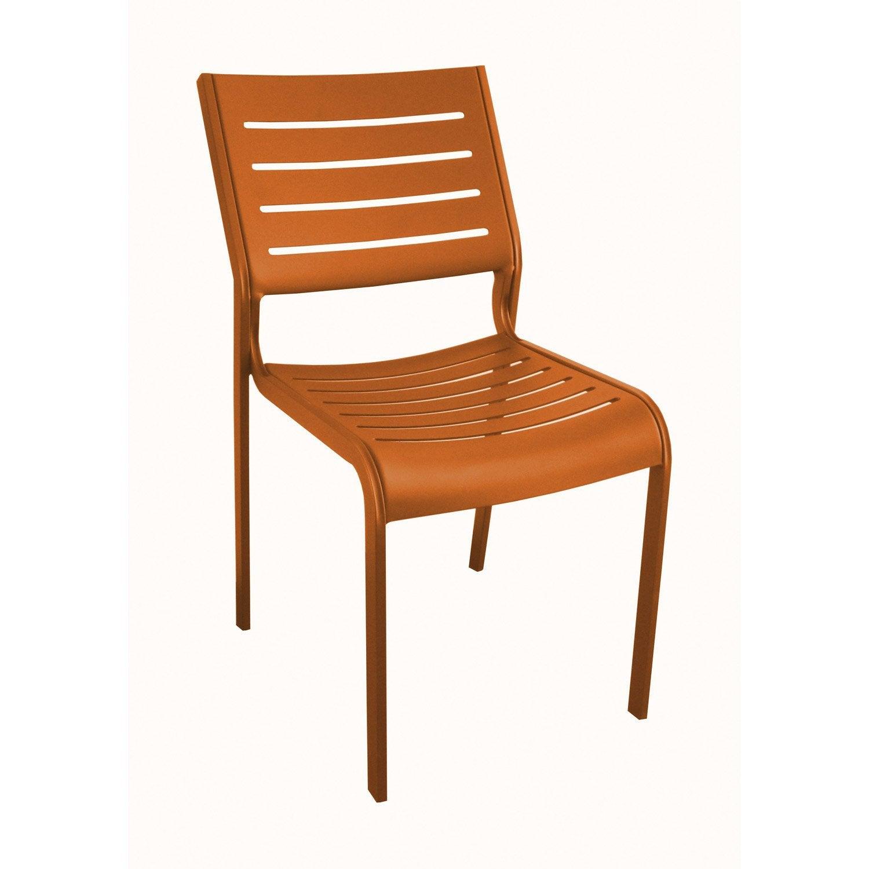 Chaise de jardin en aluminium belhara couleur mandarine - Chaise de jardin alu ...