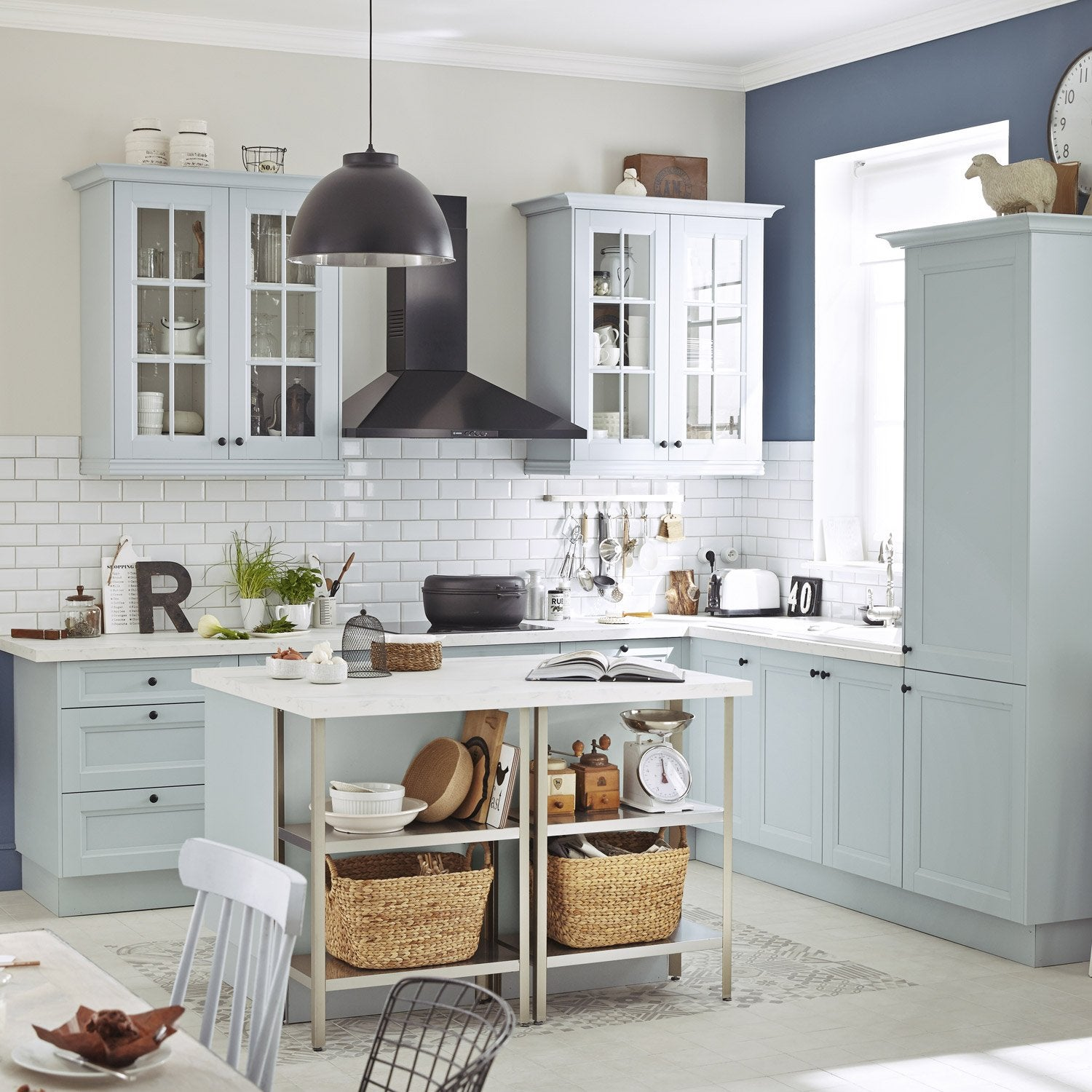 Meuble de cuisine bleu delinia ashford leroy merlin for Kitchen cabinets lowes with leroy merlin papiers peints
