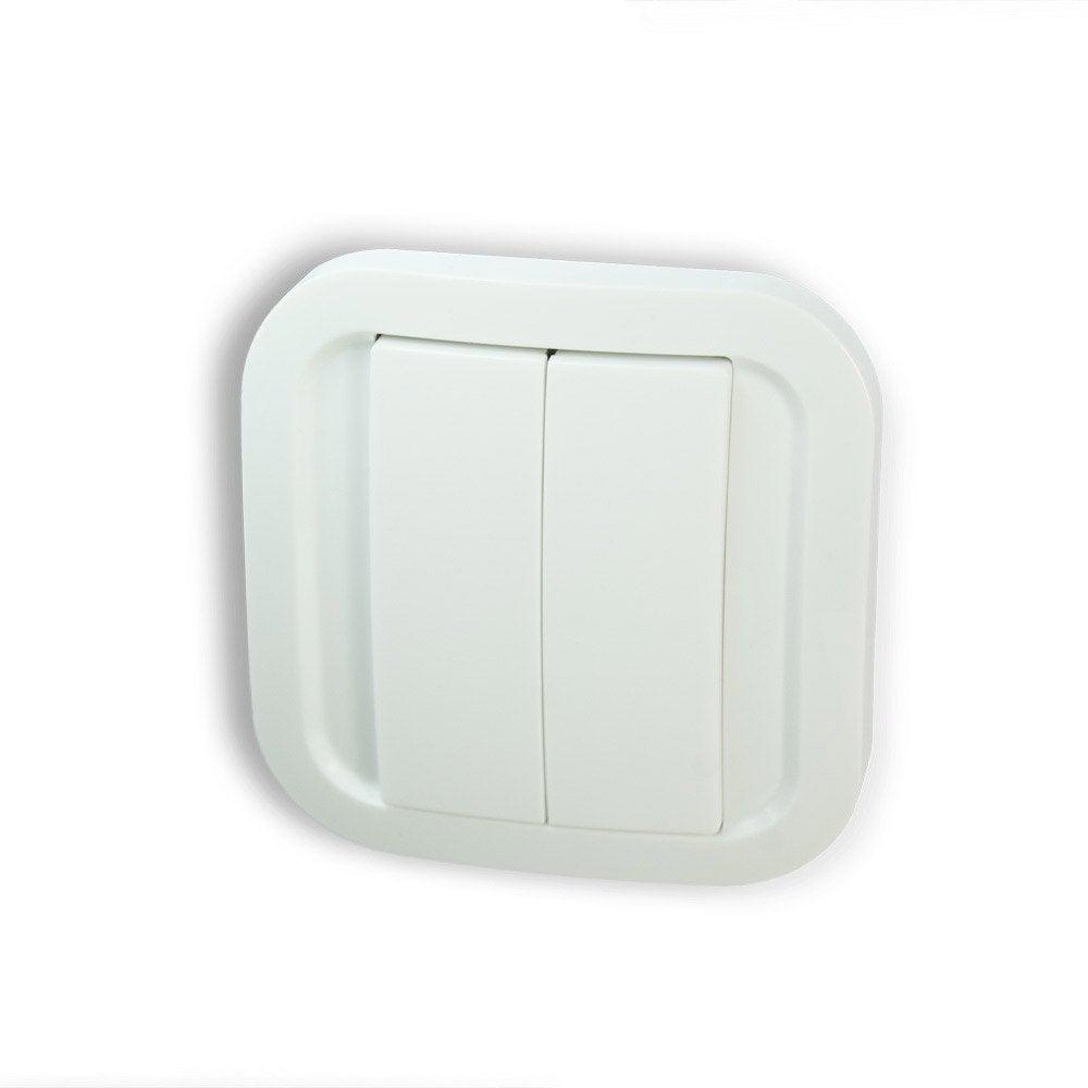 interrupteur mural enocean 1 et 2 boutons sans fil sans pile nodon cws 2 1 01 leroy merlin. Black Bedroom Furniture Sets. Home Design Ideas