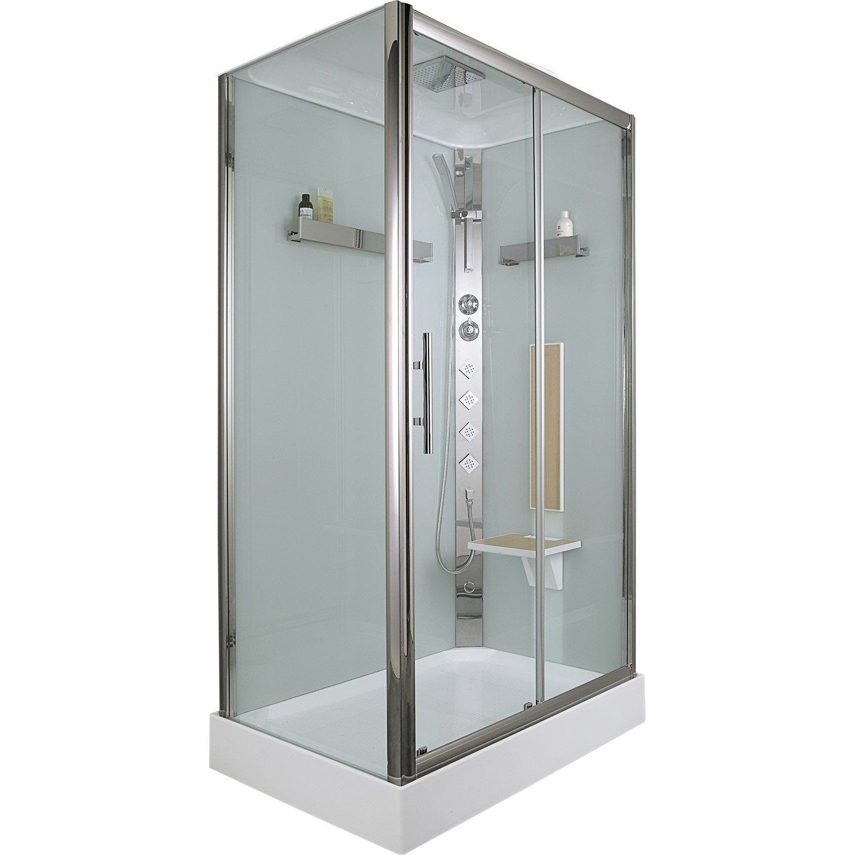 Cabine de douche rectangulaire 120x80 cm ilia ch ne droite leroy merlin - Leroy merlin cabine de douche ...