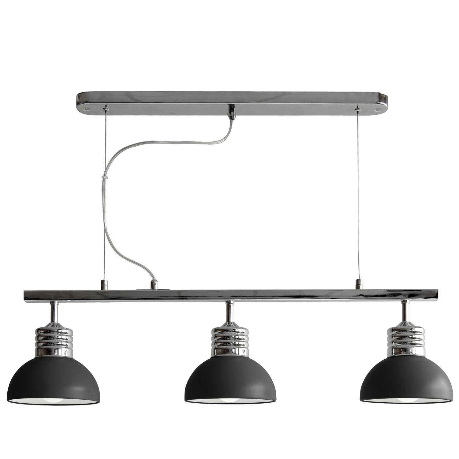 Suspension e27 moderne charlie m tal noir 3 x 40 w for Suspension 3 lampes cuisine