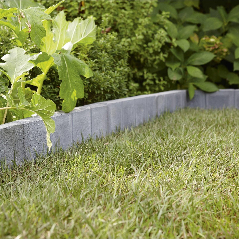 Bordure droite quadra b ton gris ardoise x cm leroy merlin - Pose bordure beton jardin ...