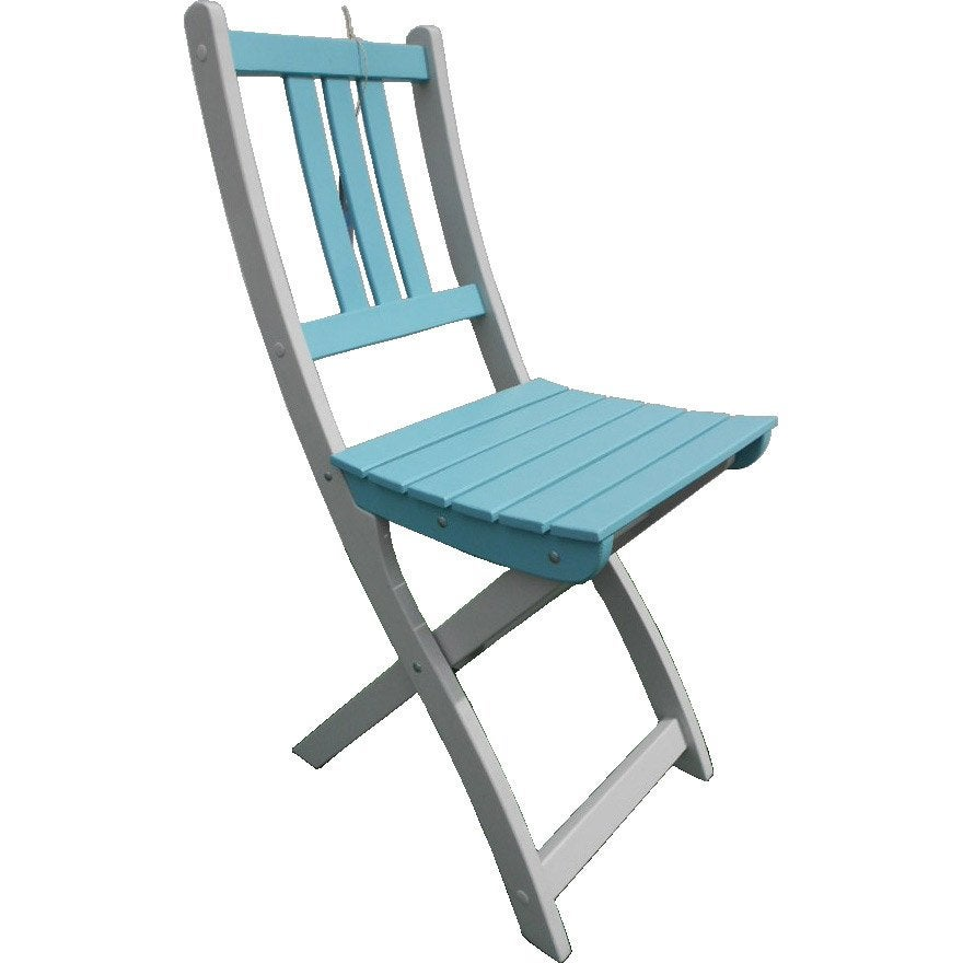 Chaise de jardin en bois burano couleur bleu leroy merlin - Chaise de couleur ...