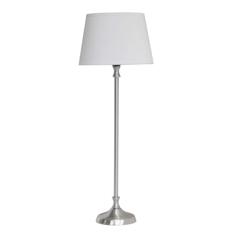 lampe louise seynave tissu blanc 40 w leroy merlin. Black Bedroom Furniture Sets. Home Design Ideas