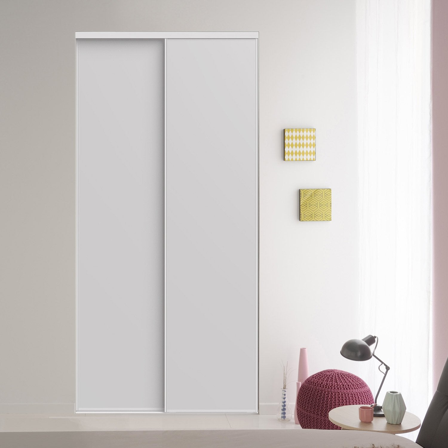 Lot de 2 portes de placard coulissantes blanc 246x120 cm for Porte placard 50 cm