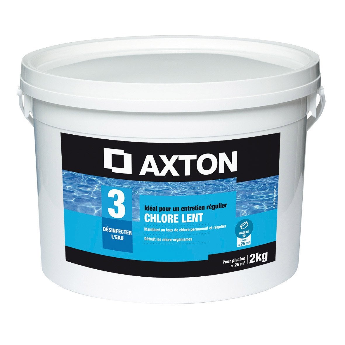 Chlore lent piscine axton galet 1 l 2 kg leroy merlin for Chlore piscine