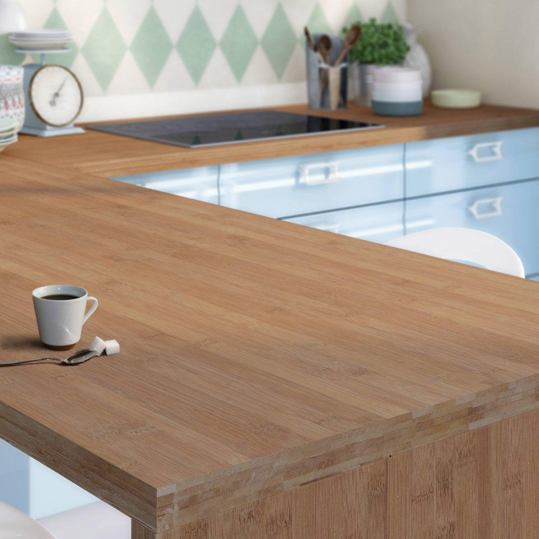 Plan de travail sur mesure bambou mm leroy merlin - Table escamotable sous plan de travail ...