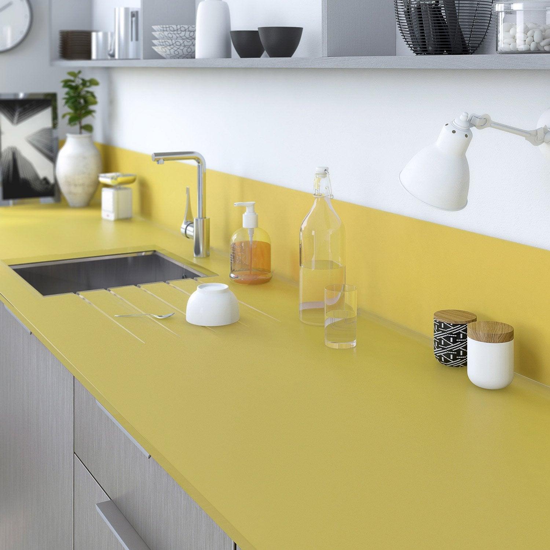 Plan de travail sur mesure verre laqu jaune anis for Couleur de plan de travail pour cuisine