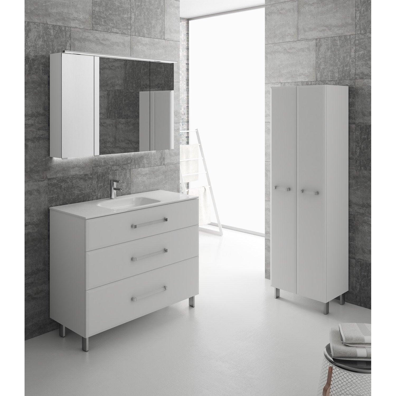 meuble de salle de bains de 100 119 blanc opale leroy merlin. Black Bedroom Furniture Sets. Home Design Ideas
