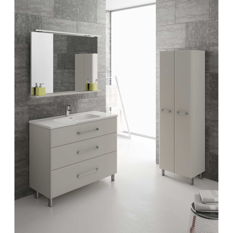 Meuble de salle de bains de 100 119 beige opale - Stratifie salle de bain leroy merlin ...