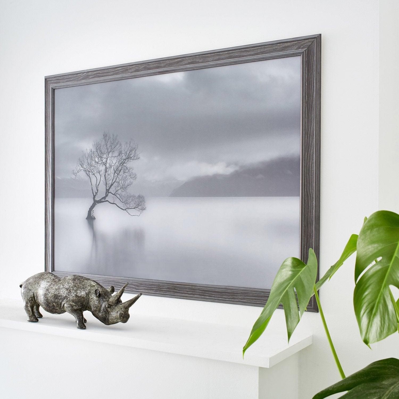 Cadre areza 50 x 70 cm gris leroy merlin for Miroir 50 x 70 leroy merlin