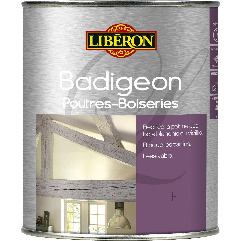 et lambris Badigeon LIBERON, mât bois grisé, 1L  Leroy Merlin