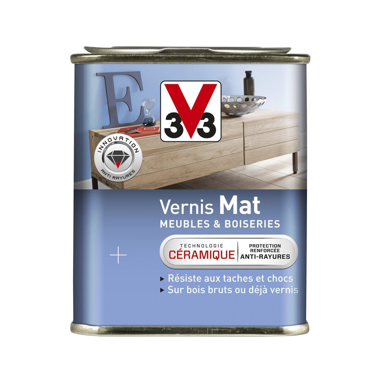Vernis meuble et objets v33 l blanc patine leroy merlin for Peinture pour meuble vernis sans poncage leroy merlin