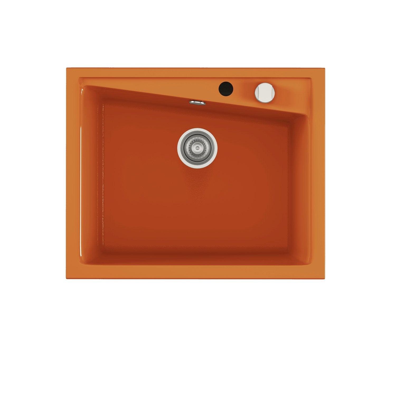 Evier encastrer quartz et r sine orange kuma 1 cuve for Peinture evier resine