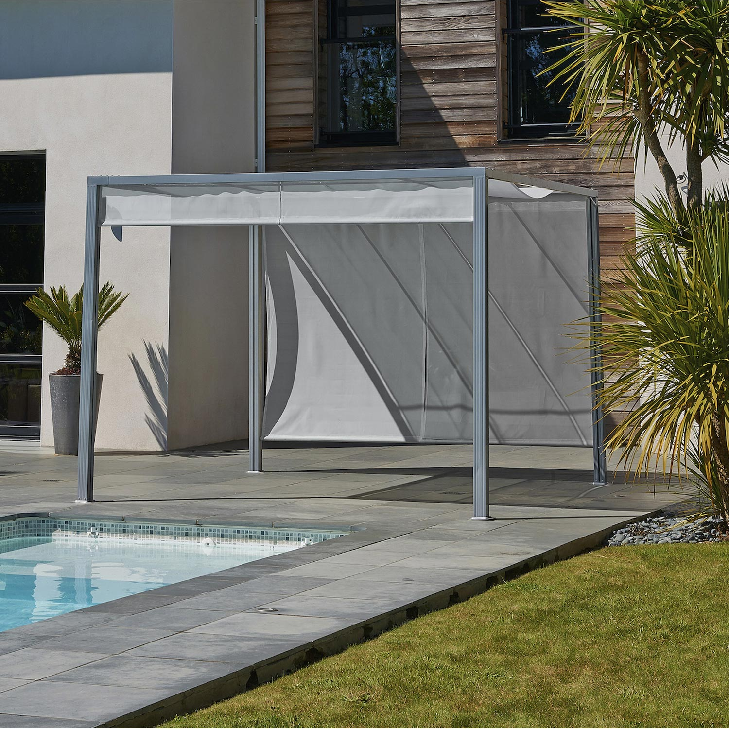 pergola autoportante venezia aluminium gris anthracite 9 m leroy merlin. Black Bedroom Furniture Sets. Home Design Ideas