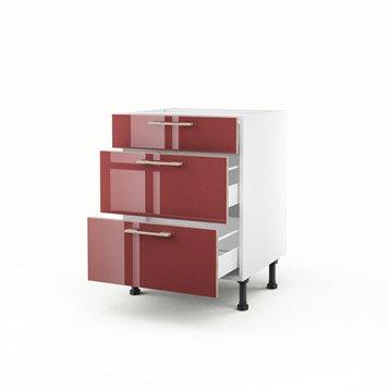Meuble de cuisine bas rouge 3 tiroirs Grenade H.70 x l.60 x P.56 cm