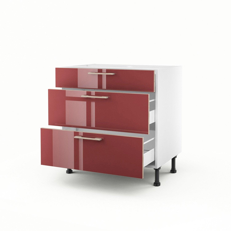meuble de cuisine bas rouge 3 tiroirs grenade x. Black Bedroom Furniture Sets. Home Design Ideas