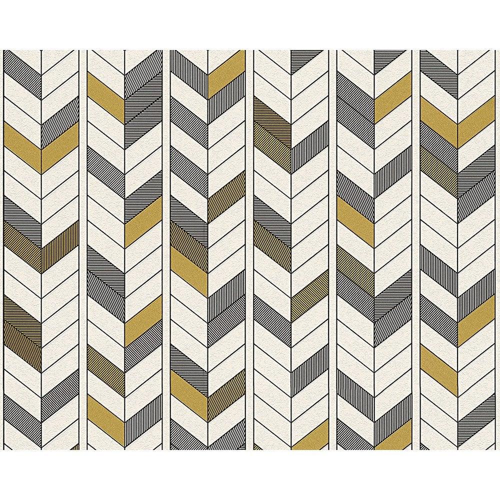 papier peint g om trique blanc noir or intiss ap 2000 leroy merlin. Black Bedroom Furniture Sets. Home Design Ideas