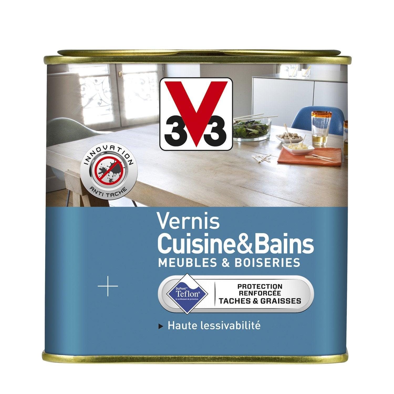 Vernis cuisine et bain v33 l incolore leroy merlin for Peinture resine pour meuble vernis