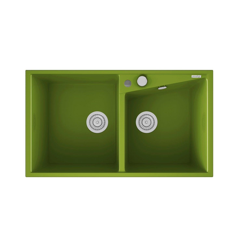 Vier encastrer en quartz et r sine kuma 2 bacs vert for Eviers en resine 2 bacs