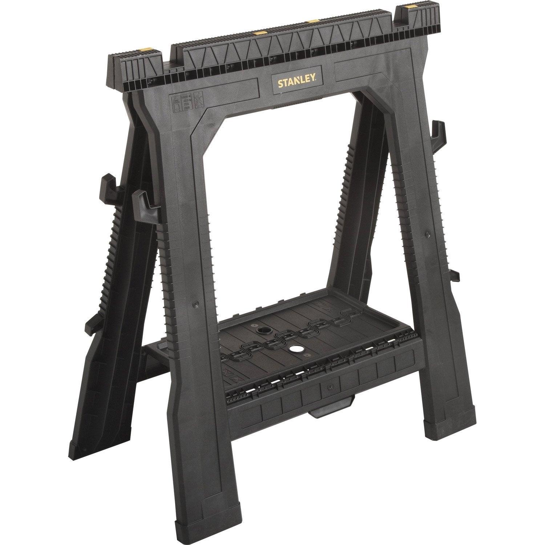 lot de 2 tr teaux pvc pliable stanley x cm leroy merlin. Black Bedroom Furniture Sets. Home Design Ideas