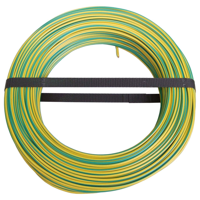 Fil lectrique h07vu vert jaune 2 5 mm m leroy merlin - Bobine fil electrique ...