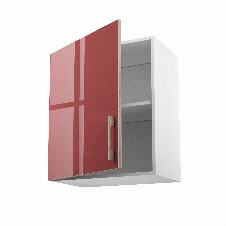 Meuble de cuisine haut rouge 1 porte grenade x x for Meuble cuisine haut leroy merlin