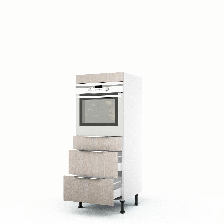demi colonne d cor bois four 3 tiroirs nordik x x cm leroy merlin. Black Bedroom Furniture Sets. Home Design Ideas
